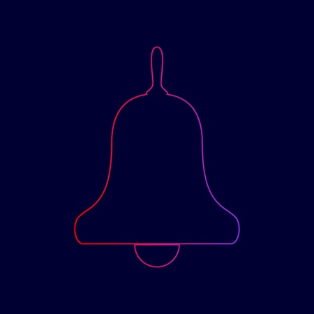 Bell Alarm, handbell sign. Vector. Line icon with gradient from red to violet colors on dark blue background.