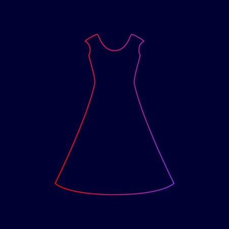 beautiful long dress sign Vector. Line icon with gradient from red to violet colors on dark blue background.