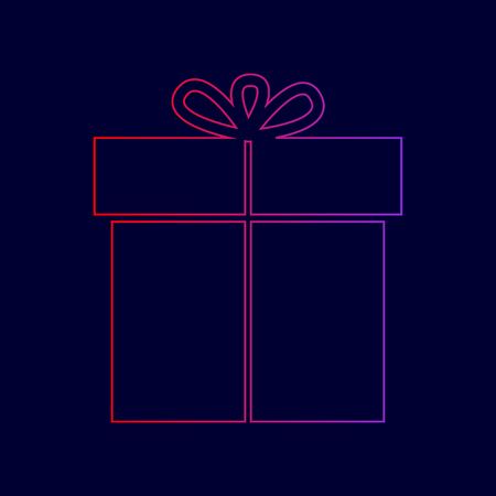 giftware: Gift sign. Vector. Line icon with gradient from red to violet colors on dark blue background.