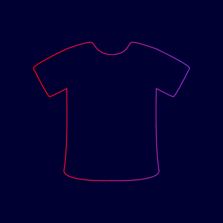 T-shirt sign. Vector. Line icon with gradient from red to violet colors on dark blue background. Illustration