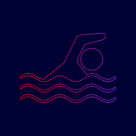 swiming: Swimming water sport sign. Vector. Line icon with gradient from red to violet colors on dark blue background.
