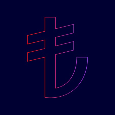 Turkiey Lira sign. Vector. Line icon with gradient from red to violet colors on dark blue background. Illustration