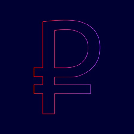 Ruble sign. Vector. Line icon with gradient from red to violet colors on dark blue background.