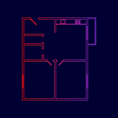 floorplan: Apartment house floor plans. Vector. Line icon with gradient from red to violet colors on dark blue background. Illustration