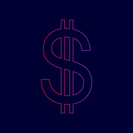 United states Dollar sign. Vector. Line icon with gradient from red to violet colors on dark blue background.