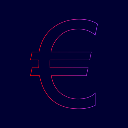 Euro sign. Vector. Line icon with gradient from red to violet colors on dark blue background. Illustration