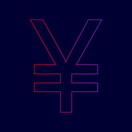 Yen sign. Vector. Line icon with gradient from red to violet colors on dark blue background. Illustration