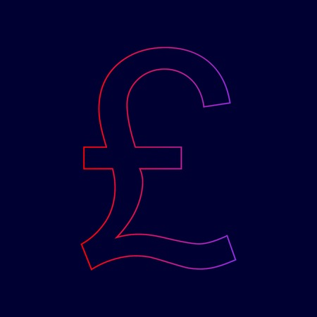 Turkish lira sign. Vector. Line icon with gradient from red to violet colors on dark blue background. Illustration