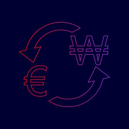 Currency exchange sign. Euro and South Korea Won. Vector. Line icon with gradient from red to violet colors on dark blue background.