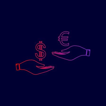 Valutawissel van hand tot hand. Dollar en Euro. Vector. Lijn pictogram met verloop van rood naar violet kleuren op donkerblauwe achtergrond.