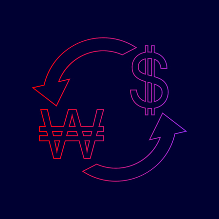 Currency exchange sign. South Korea Won and US Dollar. Vector. Line icon with gradient from red to violet colors on dark blue background.