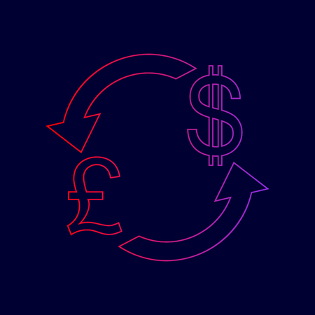 Currency exchange sign. UK: Pound and US Dollar. Vector. Line icon with gradient from red to violet colors on dark blue background. Illustration