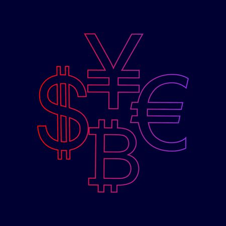 Currency sign collection dollar, euro, bitcoin, yen vector. Line icon with gradient from red to violet colors on dark blue background.