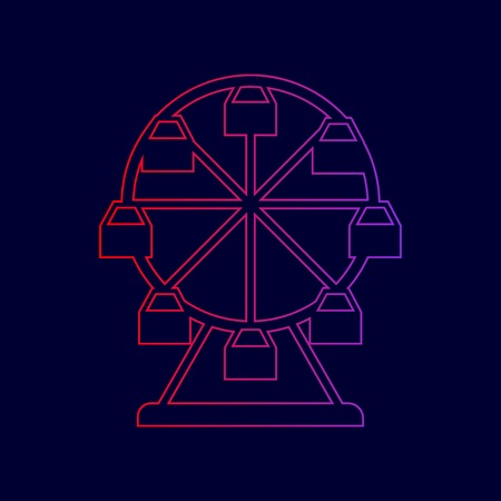 Ferris wheel sign. Vector. Line icon with gradient from red to violet colors on dark blue background.