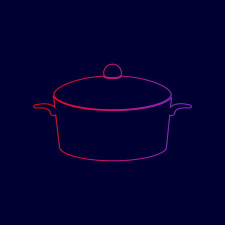 Pan sign. Vector. Line icon with gradient from red to violet colors on dark blue background.