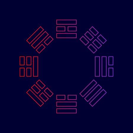 Segno di Bagua Vettore. Icona di linea con sfumatura dal rosso al viola colori su sfondo blu scuro.