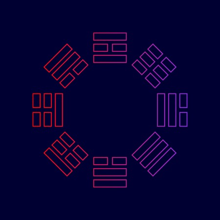 Signe de Bagua. Vecteur. Icône de la ligne avec dégradé de rouge aux couleurs violettes sur fond bleu foncé.