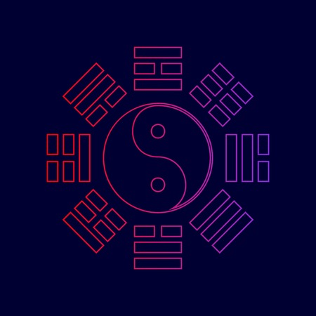 Yin and yang sign with bagua arrangement. Vector. Line icon with gradient from red to violet colors on dark blue background. Illustration