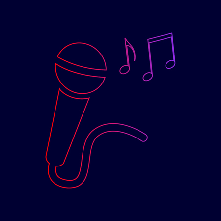 Microphone sign with music notes. Vector. Line icon with gradient from red to violet colors on dark blue background. Illustration
