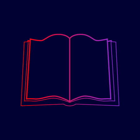 Book sign. Vector. Line icon with gradient from red to violet colors on dark blue background.