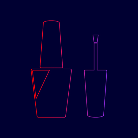 Nail polish sign. Vector. Line icon with gradient from red to violet colors on dark blue background. Illustration