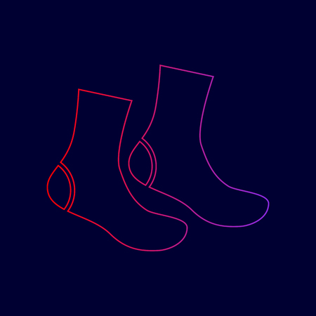 Socks sign. Vector. Line icon with gradient from red to violet colors on dark blue background.