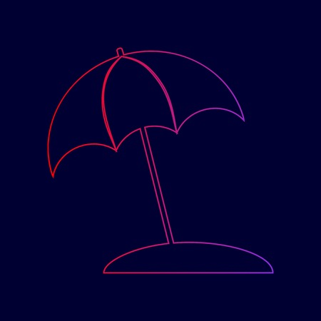 Umbrella and sun lounger sign. Vector. Line icon with gradient from red to violet colors on dark blue background.