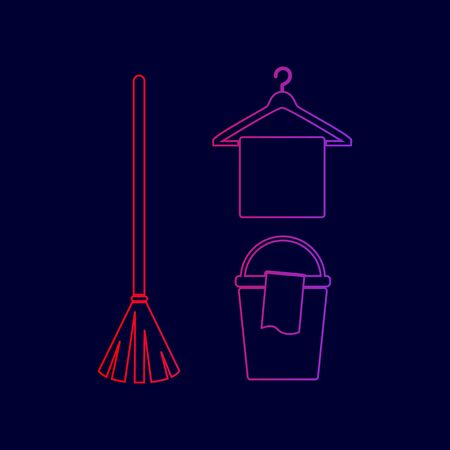 Broom, bucket and hanger sign. Vector. Line icon with gradient from red to violet colors on dark blue background. Illustration