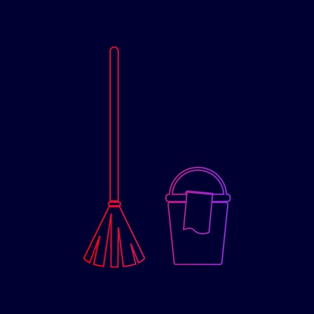 Broom and bucket sign. Vector. Line icon with gradient from red to violet colors on dark blue background. Illustration