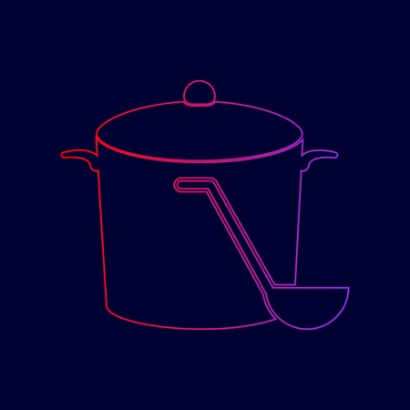 Pan with steam sign. Vector. Line icon with gradient from red to violet colors on dark blue background.