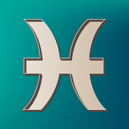 Pisces sign illustration. Vector. Icon printed at 3d on sea color background.