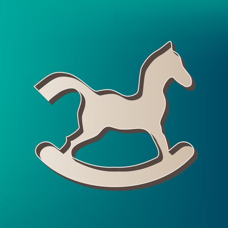 Horse toy sign. Vector. Icon printed at 3d on sea color background. Illustration