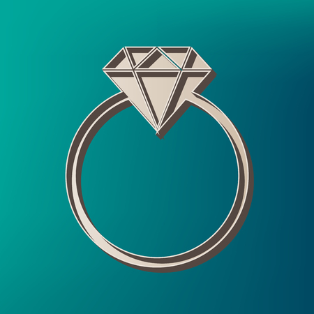 Diamond sign illustration. Vector. Icon printed at 3d on sea color background.