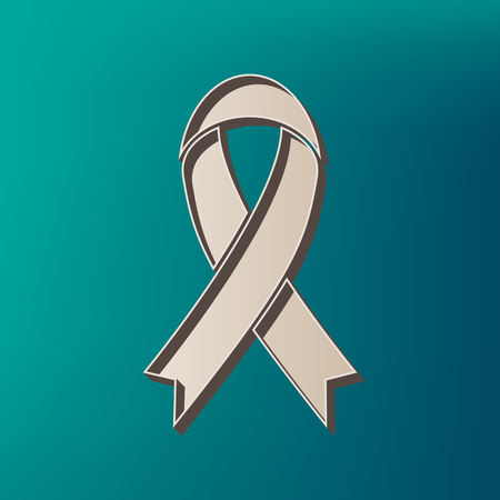 substance abuse awareness: Black awareness ribbon sign. Vector. Icon printed at 3d on sea color background.