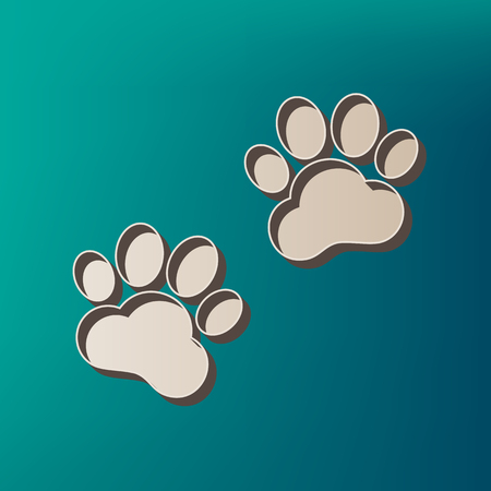 Animal Tracks sign. Vector. Icon printed at 3d on sea color background. Illustration