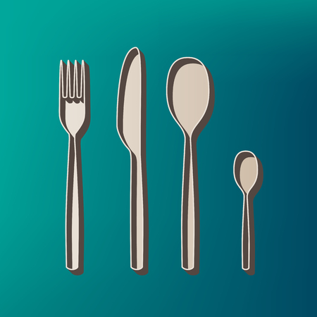 Fork spoon and knife sign. Vector. Icon printed at 3d on sea color background.