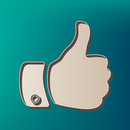 Hand sign illustration. Vector. Icon printed at 3d on sea color background. Illustration
