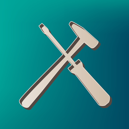Tools sign illustration. Vector. Icon printed at 3d on sea color background.