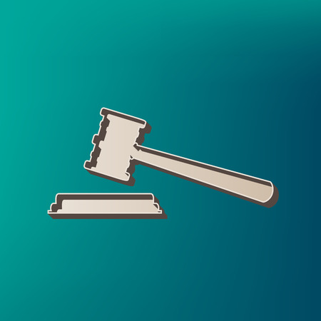 Justice hammer sign. Vector. Icon printed at 3d on sea color background.