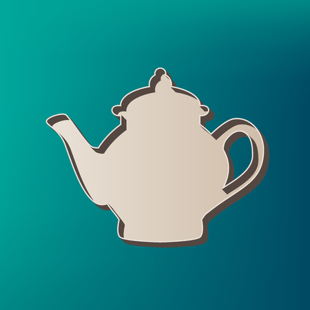 Tea maker sign. Vector. Icon printed at 3d on sea color background.