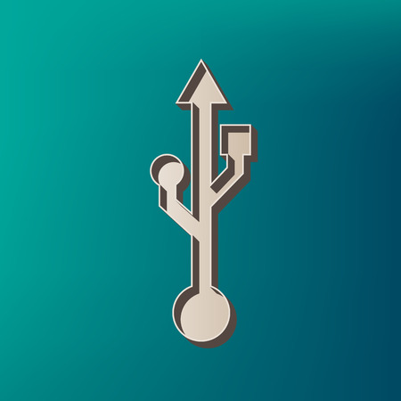 USB sign illustration. Vector. Icon printed at 3d on sea color background.