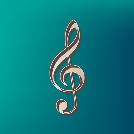 chiave di violino: Music violin clef sign. G-clef. Treble clef. Vector. Icon printed at 3d on sea color background.
