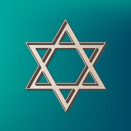 Shield Magen David Star. Symbol of Israel. Vector. Icon printed at 3d on sea color background.