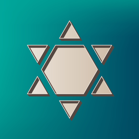 Shield Magen David Star Inverse. Symbol of Israel inverted. Vector. Icon printed at 3d on sea color background.