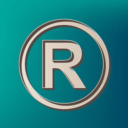 Registered Trademark sign. Vector. Icon printed at 3d on sea color background.