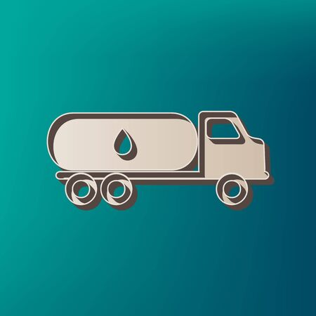Car transports Oil sign. Vector. Icon printed at 3d on sea color background.