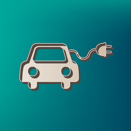 Eco electric car sign. Vector. Icon printed at 3d on sea color background. Illustration
