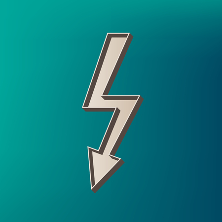 High voltage danger sign. Vector. Icon printed at 3d on sea color background.