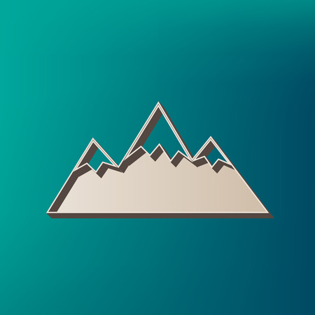 snow capped: Mountain sign illustration. Vector. Icon printed at 3d on sea color background.