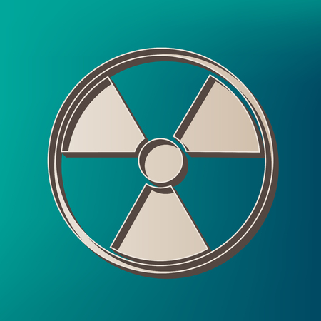 Radiation Round sign. Vector. Icon printed at 3d on sea color background.